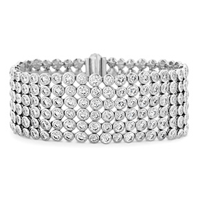 HOF 6 Row Bezel Diamond Bracelet